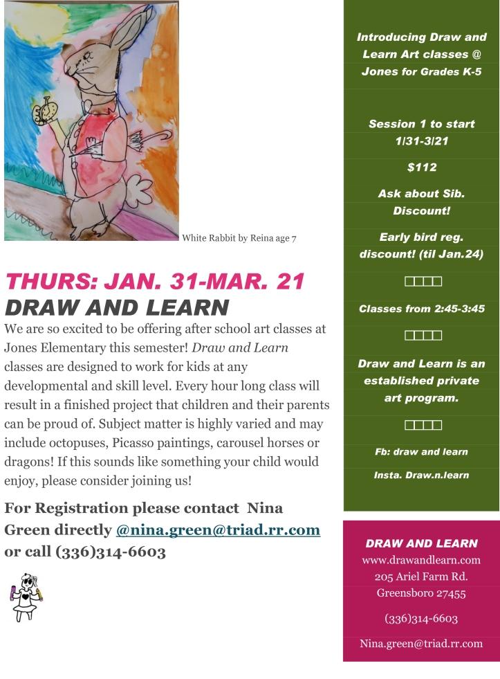 jones draw and learn flier