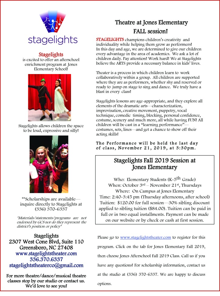 Stagelights flyer fall2019