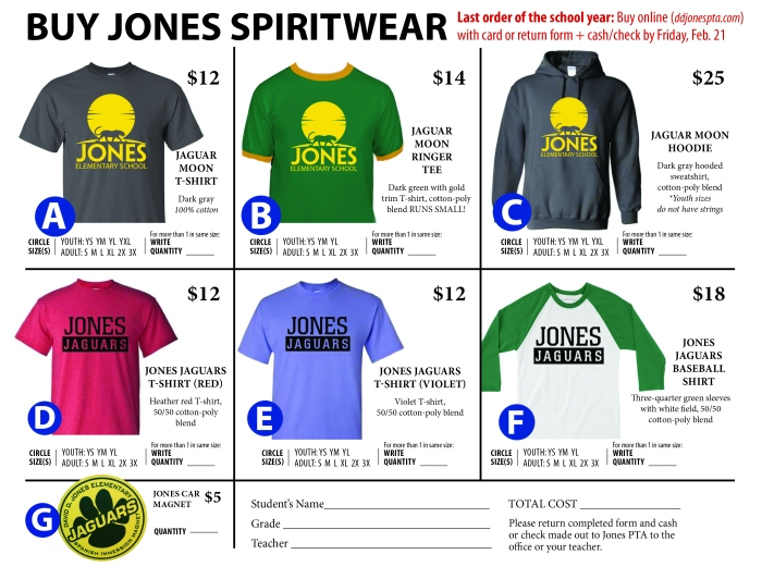 Spiritwear order form with magnet